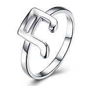 2017 Fashion Luxury Simple Style Band Ring Music Notes Classic Sterling Silver Ring Wedding Party For Women