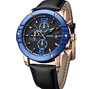 YY MEGIR2046G Megir Chronograph Big Round Dial Leather Strap Sport Quartz Watches for Men Fashion Man's Luminous Calendar Wrist Watch
