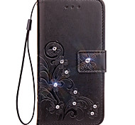 cheap -Case For LG G3 LG LG G5 LG G4 Card Holder Wallet Rhinestone with Stand Flip Embossed Full Body Cases Solid Color Flower Hard PU Leather