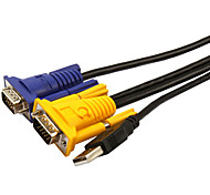 VGA Connect Cable, VGA to VGA USB 2.0 Connect Cable Male - Male Gold-plated copper 3.0m(10Ft)