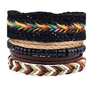 Men's Women's Leather Bracelet Strand Bracelet Wrap Bracelet Handmade Vintage Bohemian Personalized DIY Leather Wood Circle Line Jewelry