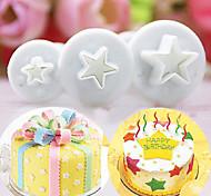 abordables -3 pcs / set pentagramme étoile gâteau cutter piston pâte fondant sugarcraft outil de décoration