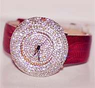 Women's Digital Watch Pave Watch Digital Leather Band Sparkle Black Red Brown