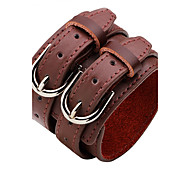 cheap -Men's Women's Leather Bracelet Personalized Rock Leather Alloy Round Jewelry Casual Stage Costume Jewelry White Black Dark Red