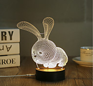 cheap -1 Set, Popular Home Acrylic 3D Night Light LED Table Lamp USB Mood Lamp Gifts, Rabbit