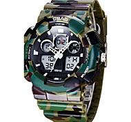 Herrn Kinder Sportuhr Modeuhr Armbanduhr Quartz LCD Kalender Wasserdicht Duale Zeitzonen Stopuhr PU Band Cool Bequem Schwarz Weiß Grün