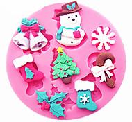 снеговик снежинки рождественская елка чулки колокола торт украшения инструменты diy силиконовая форма gumpaste