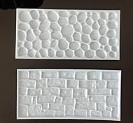 2PCS Fondant Impression Mat Set Stone Wall Design Sugarcraft Decorating Tool(Color Random)