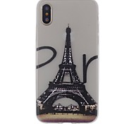 For iPhone X iPhone 8 iPhone 8 Plus Case Cover Ultra-thin Transparent Pattern Back Cover Case Eiffel Tower Soft TPU for Apple iPhone X