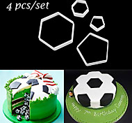 4 PCS/Set Diy Sugar Craft Decorating Fondant Cake Mold Soccer Shape