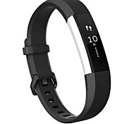 Rubber Strap Metal Case  TPE Wristband for Fitbit Alta HR - BLACK