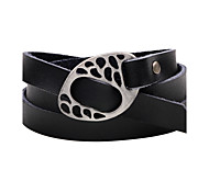 Men's Women's Leather Bracelet Wrap Bracelet Handmade Simple Style Leather Alloy Button Twist Circle Jewelry For Casual Going out