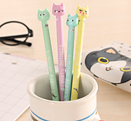 12 PCS Candy Color Cat Black Ink Gel Pen