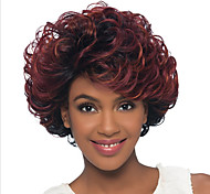 cheap -Kinky Curly Ombre Hair Red Women's Capless Natural Wigs Short Synthetic Hair