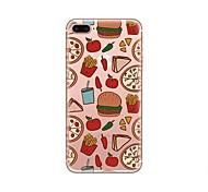 Недорогие -Кейс для Назначение iPhone X iPhone 8 Прозрачный С узором Задняя крышка Продукты питания Мягкий TPU для iPhone X iPhone 8 Plus iPhone 8