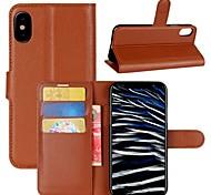Кейс для Назначение Apple iPhone X iPhone 8 iPhone 8 Plus Кошелек Бумажник для карт Флип Чехол Сплошной цвет Твердый Искусственная кожа