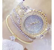 Недорогие -Жен. Модные часы Уникальный творческий часы Часы со стразами Японский Кварцевый Нержавеющая сталь Группа Серебристый металл Золотистый