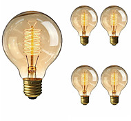 cheap -5pcs 40W E27 G80 Warm White Incandescent Vintage Edison Light Bulb AC220-240V