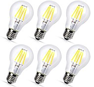 6pcs A60(A19) 4W COB LED filament Bulbs E27 Warm/Cool White Color Decorative Edison Style Vintage LED Light Bulb AC220-240V