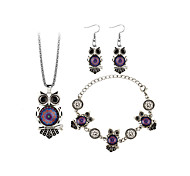Women's Drop Earrings Necklace Fashion Bohemian Resin Alloy Owl Earrings Necklace Bracelets For Gift Stage Wedding Gifts