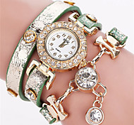 Damen Armband-Uhr Armbanduhren für den Alltag Simulierter Diamant Uhr Chinesisch Quartz PU Band Böhmische Bequem Elegante Schwarz Blau
