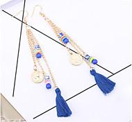 cheap -Women's Tassel Drop Earrings - Tassel Fashion White Black Dark Blue Red Rainbow Round Earrings For Party Daily