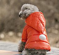 Недорогие -Собака Костюмы Плащи Толстовки Рождество Одежда для собак На каждый день Водонепроницаемый Сохраняет тепло Спорт В горошек Оранжевый