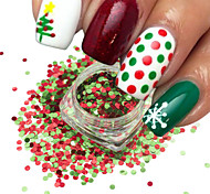 1Bottle Nail Art Mix Color Red Green Christmas Nail Art Shining 3D Round Sequins Paillette Nail Art DIY Beauty Glitter Slice Xmas Decoration SD1