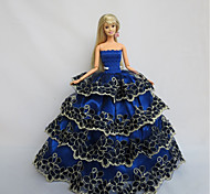 For Barbie Doll Royal Blue Dresses For Girl's Doll Toy