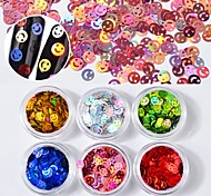 Недорогие -6 коробка многоцветного искусства ногтя sequins лазера красочная конструкция искусства ногтя украшения 1g / box