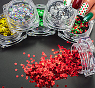 1g/Bottle Fashion Christmas Red Green 3D Glitter Round Sequins Nail Art Shining Xmas Paillette Decoration New Year Nail DIY Beauty Xmas Sequins SD1-6