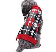 Недорогие -Кошка Собака Костюмы Плащи Свитера Рождество Одежда для собак На каждый день Сохраняет тепло Свадьба Хэллоуин Новый год В клетку