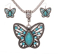 Women's Drop Earrings Necklace Turquoise Vintage Fashion Daily Turquoise Alloy Butterfly 1 Necklace Earrings