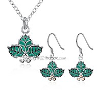 cheap -Women's Jewelry Set Gift Fashion Christmas New Year Zircon Copper Silver Plated Leaf 1 Necklace Earrings