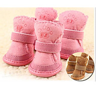 cheap -Cat Dog Pet Shoes Flat Keep Warm Leisure Solid Brown Pink For Pets