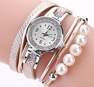 preiswerte -Damen Quartz Simulierter Diamant Uhr Armband-Uhr Chinesisch Imitation Diamant PU Band Freizeit Böhmische Modisch Schwarz Weiß Blau Orange
