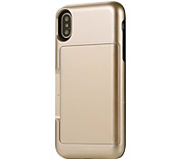 cheap -Case For Apple iPhone X iPhone 8 Card Holder Shockproof Back Cover Solid Color Armor Hard PC for iPhone X iPhone 8 Plus iPhone 8 iPhone 7