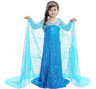 cheap -Princess Fairytale Elsa Dress Children's Christmas Masquerade Birthday Festival / Holiday Halloween Costumes Blue Sequin Dresses Adorable