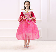 cheap -Princess Fairytale Aurora Dress Party Costume Kid Christmas Birthday Masquerade Festival / Holiday Halloween Costumes Red Solid Color