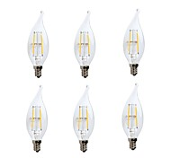 cheap -GMY® 6pcs 2W 200lm E12 LED Filament Bulbs CA10 2 LED Beads COB Dimmable Decorative LED Light Warm White 110-130V