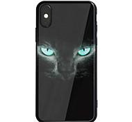 Недорогие -Кейс для Назначение Apple iPhone X iPhone 8 Plus Зеркальная поверхность С узором Задняя крышка Кот Твердый Акриловое волокно для iPhone X