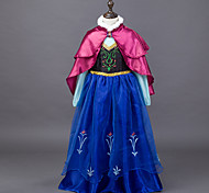 cheap -Princess Fairytale Anna Dress Cloak Kid Christmas Birthday Masquerade Festival / Holiday Halloween Costumes Blue Color Block