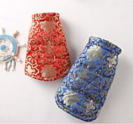 economico -Gatto Cane Cappottini Abbigliamento per cani Casual Etnico Floral/botanico Rosso Blu Costume Per animali domestici