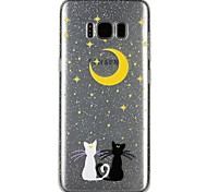 cheap -Case For Samsung Galaxy S8 S7 Translucent Pattern Embossed Varnish Back Cover Cat Glitter Shine Cartoon Soft TPU for S8 S7 S6