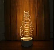 1 набор 3d настроение ночной свет руки чувство dimmable usb питание подарок лампа день рождения торт