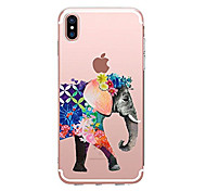 cheap -Case For Apple iPhone X iPhone 8 Transparent Pattern Back Cover Elephant Soft TPU for iPhone X iPhone 8 Plus iPhone 8 iPhone 7 Plus