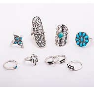 cheap -Women's Knuckle Ring Turquoise 9pcs Silver Turquoise Alloy Leaf Flower Vintage Bohemian Daily Going out Costume Jewelry