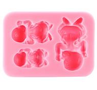 cheap -Three Baby Baking Fondant Cake Chocolate Candy Mold,L8cm*W6.3cm*H1.6cm