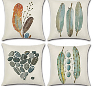cheap -4 pcs Cotton/Linen Pillow Cover, Print Bohemian Style Retro
