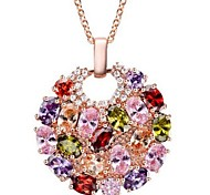 cheap -Women's Crystal Pendant Necklace  -  Classic Fashion Circle Gold Necklace For Daily